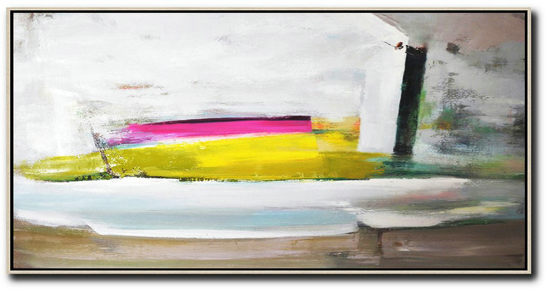 Hand Made Abstract Art,Horizontal Palette Knife Contemporary Art Panoramic Canvas Painting,Contemporary Art Acrylic Painting,White,Brown,Yellow,Pink.etc
